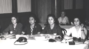 Ms. Dolatshahi with Atefeh Bijan at a meeting of the International Council of Women