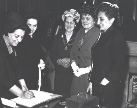 Mrs. Parsa, Minister of Education and Ms. Dolatshahi with officers of the International Council of Women