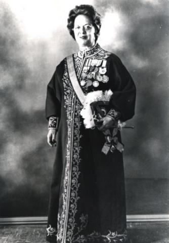 Mrs. Farrokhroo Parsa in her formal attire as cabinet officer