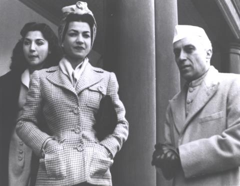 Princess Ashraf and Princess Fatemeh with Mr. Nehru on a Visit to India
